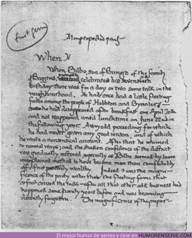 """64598 - Manuscrito original de la primera página de """"El señor de los anillos"""""""