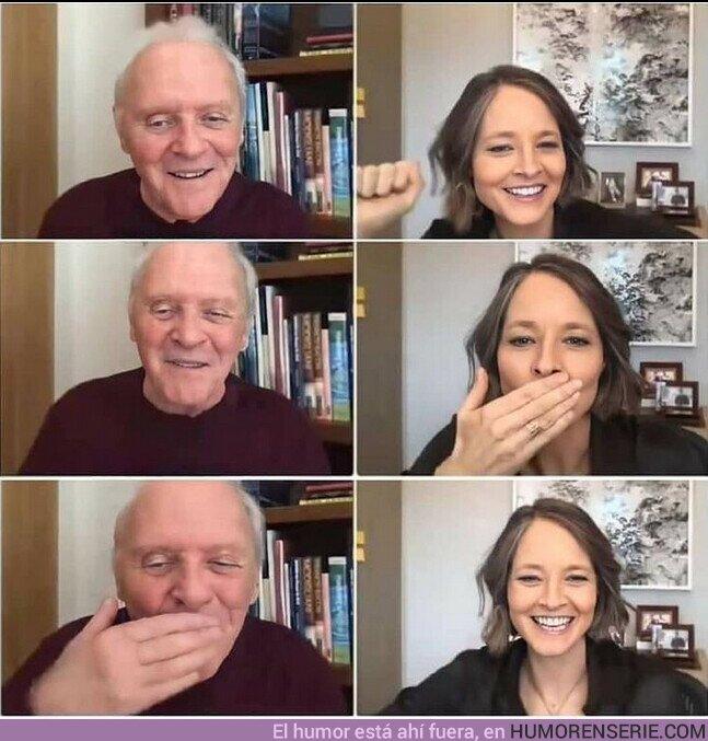 65345 - Así fue la entrañable reunión virtual de Jodie Foster y Anthony Hopkin