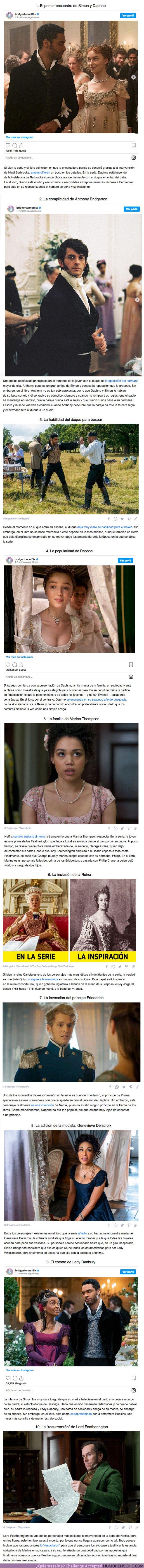 """65625 - GALERÍA: 10 Diferencias entre la serie """"Bridgerton"""" de Netflix y la trama original de los libros"""