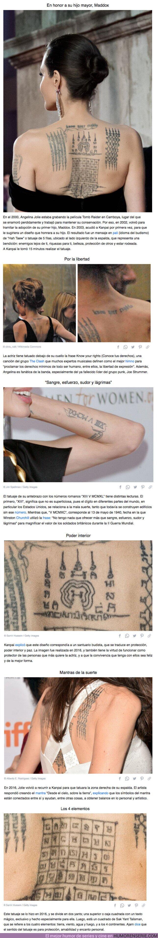 66014 - GALERÍA: Hay que hacer un master para entender todos los tatuajes que tiene Angelina Jolie en su cuerpo