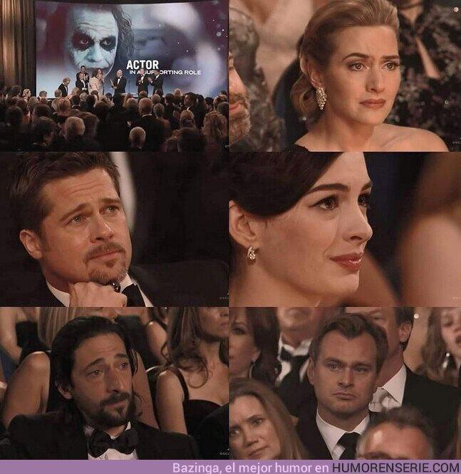 67311 - Se cumplen 12 años de este emotivo momento. Heath Ledger ganando el Oscar a Mejor Actor de Reparto por su papel de #Joker en The Dark Knight, meses después de haber fallecido.