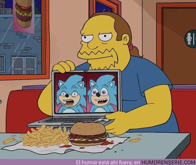 68590 - Sonic vuelve a ser referenciado en los Simpsons! Esta vez, aparece el rediseño de Sonic para la película junto al diseño original de la misma