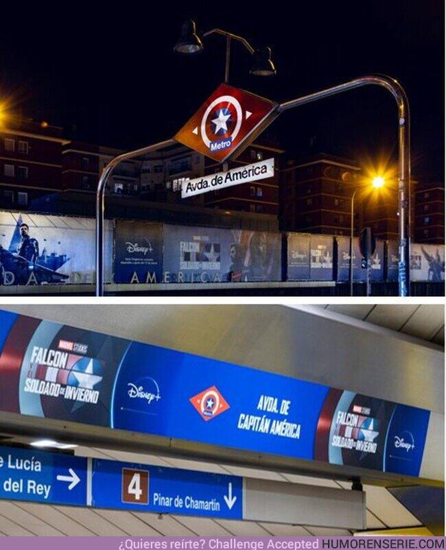 68677 - La estación de Metro de Madrid de Avenida América se convierte en Avenida del Capitán América para promocionar Falcon y el Soldado de Invierno.