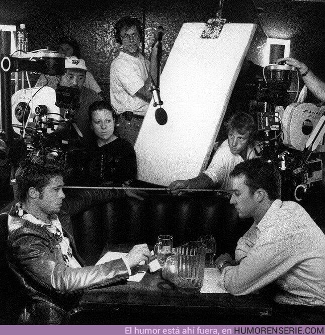 69393 - Brad Pitt y Edward Norton en el detrás de cámara de #FightClub de David Fincher