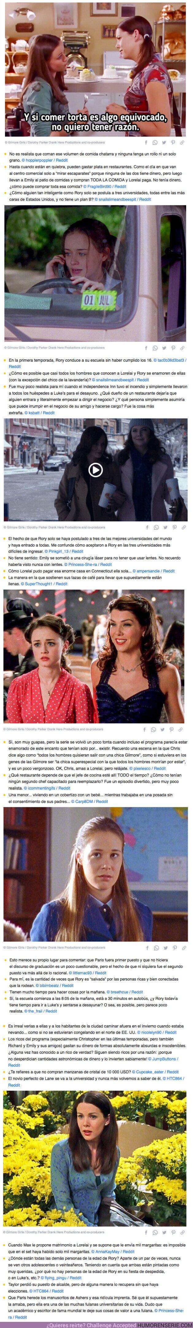 """69453 - GALERÍA: 25 Frustrados fanáticos detallan hechos que ocurrieron en """"Las chicas Gilmore"""", pero no pasarían en la vida real"""
