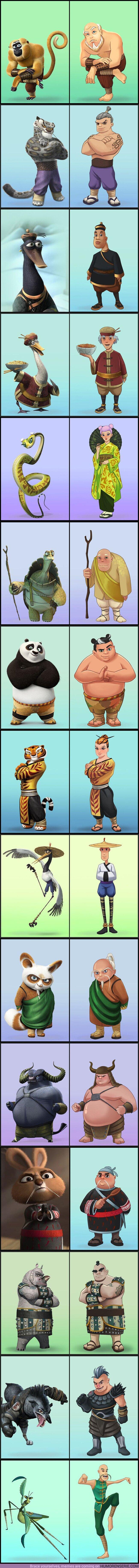 """69583 - GALERÍA: Quisimos ver cómo serían los personajes de """"Kung Fu Panda"""" como humanos y aquí están los resultados"""