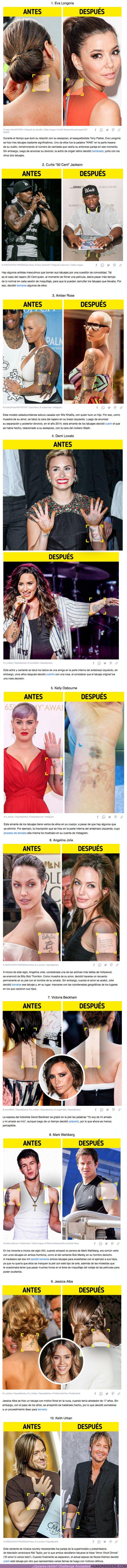 70624 - GALERÍA:10 Famosos que cubrieron o se borraron alguno de sus tatuajes (y no solo por desamor)