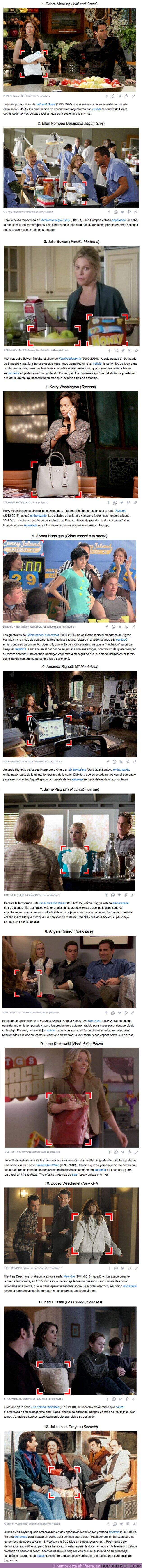 """71311 - GALERÍA: 12 Curiosas maneras que usó la producción para """"esconder"""" el embarazo de una actriz mientras rodaba una serie"""