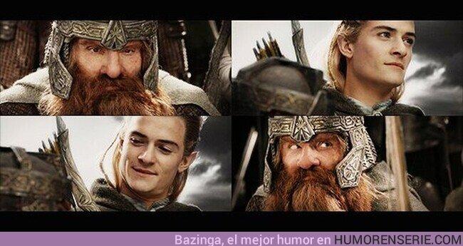 72309 - - Jamás pensé que moriría peleando junto a un elfo. - ¿Tampoco junto a un amigo?- Eso sí, sin dudarlo