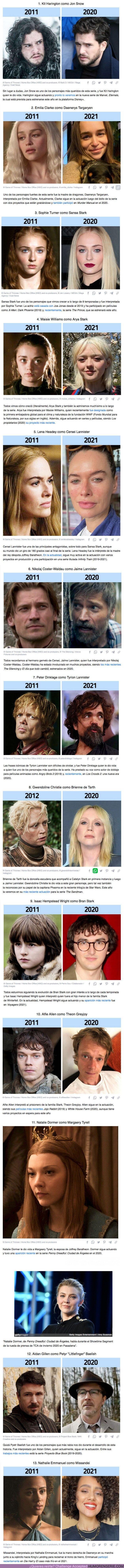 """73926 - GALERÍA: Qué es de la vida de 13 actores de """"Game of Thrones"""" luego de 10 años desde el estreno de la serie"""