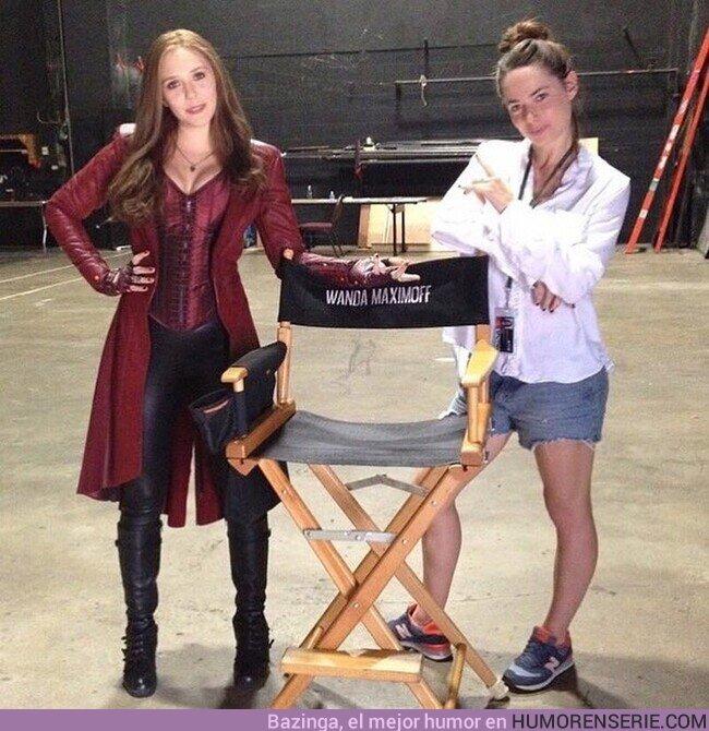 74129 - Imagen inédita de Elizabeth Olsen con su doble de acción Jennifer White en el set de Capitán América: Civil War