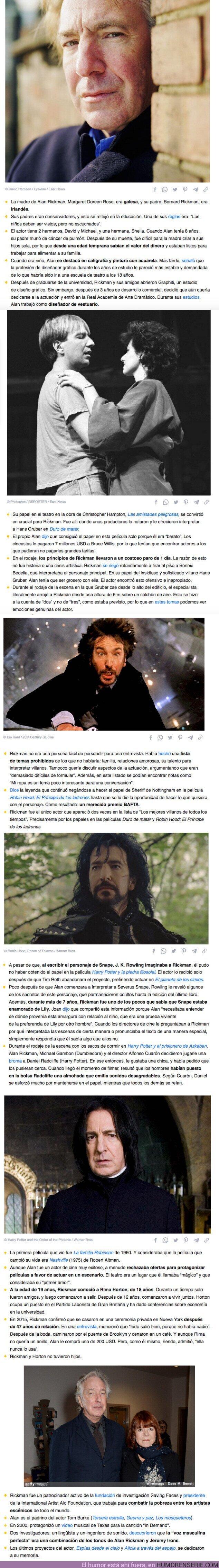"""82389 - GALERÍA: 25 Hechos sobre Alan Rickman, dicen que llegó al cine porque era un """"actor barato"""""""