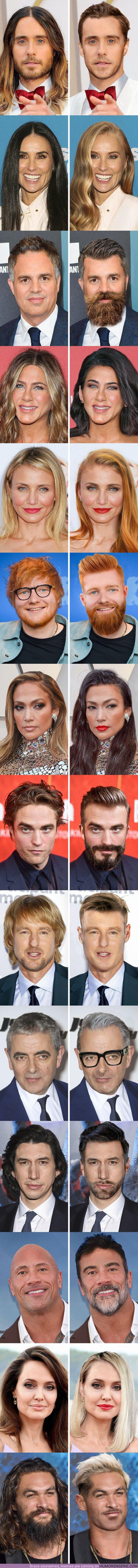 """82603 - GALERÍA: Cómo se verían 14 famosos si experimentaran un cambio de """"look"""" radical"""