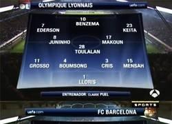 Enlace a Ojo a las alineaciones titulares del último Lyon-Barça. Una locura