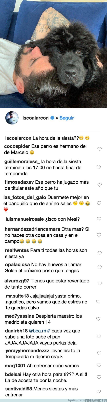 1065071 - Isco sube una foto echando la siesta con su perro Messi y todos los comentarios dicen lo mismo