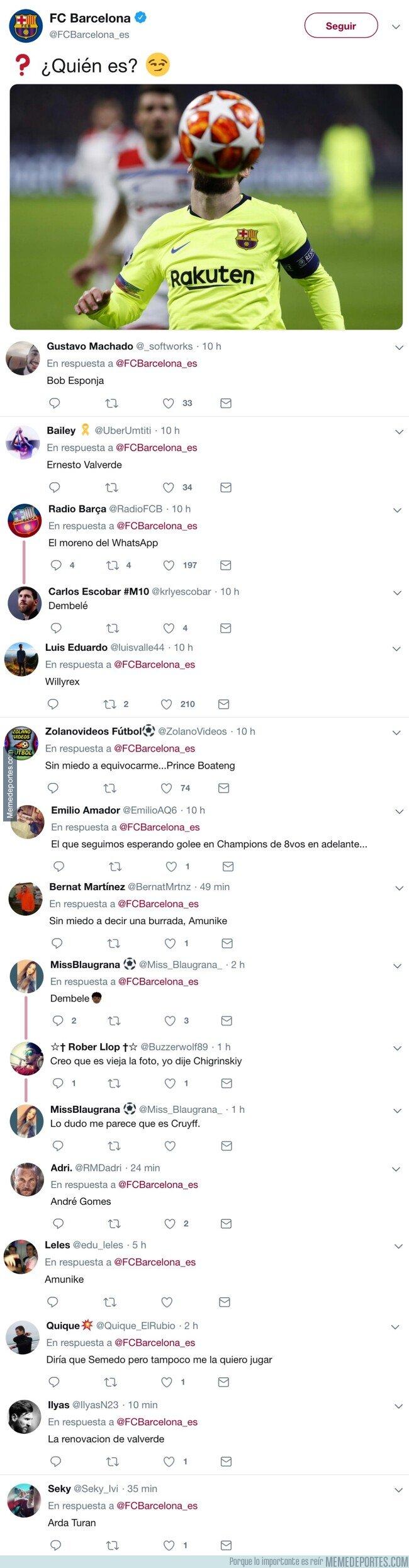 1065229 - La absurda pregunta del Barça en Twitter se llena de respuestas trolls