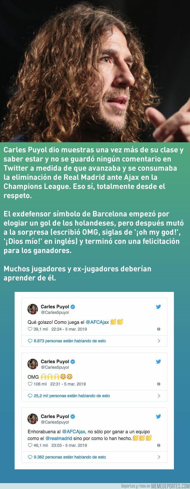 1067044 - Puyol se despachó en Twitter durante Real Madrid-Ajax, eso sí, con total respeto