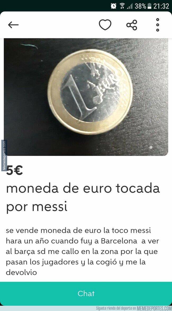 1067642 - Venden en wallapop una moneda de 1€ tocada por Messi