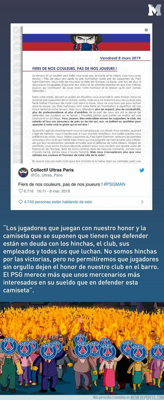 1067783 - El comunicado de los ultras del PSG a los futbolistas tras la eliminación: