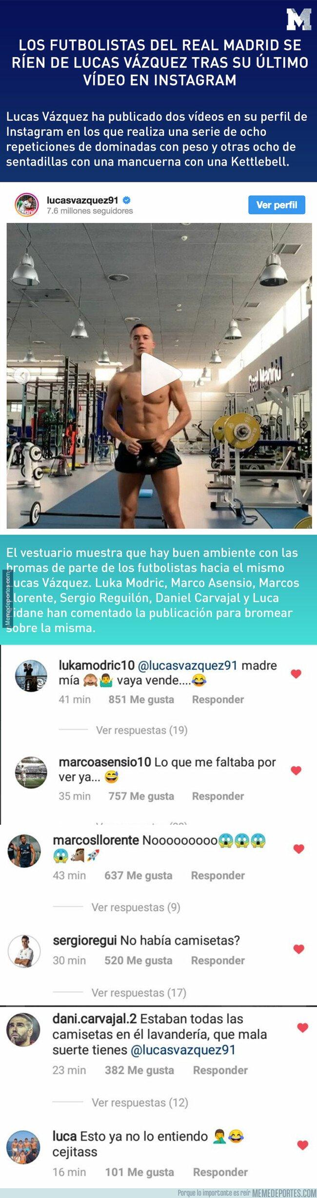 1068863 - Los futbolistas del Real Madrid se ríen de Lucas Vázquez tras su último vídeo en Instagram