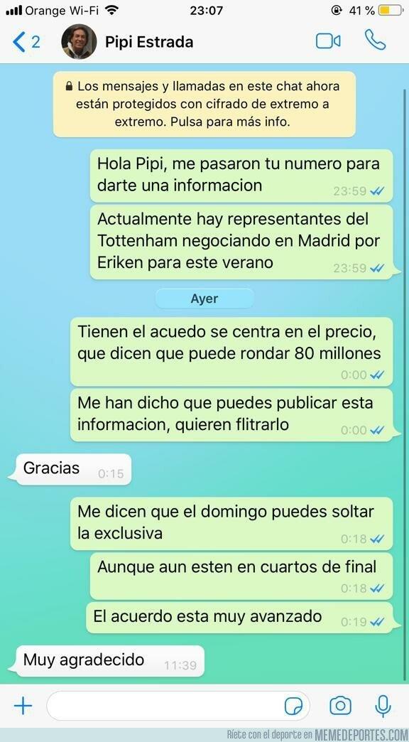 1068868 - Un twittero le cuela un bulo a Pipi Estrada por Whatsapp y va y lo suelta en el Chiringuito