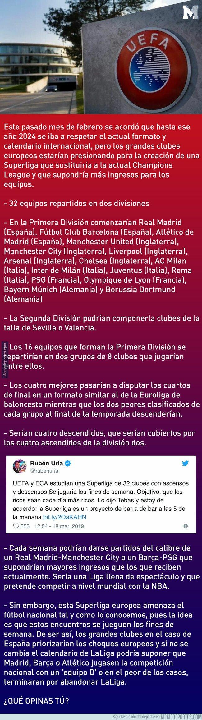 1068924 - Así sería la nueva Superliga Europea que significaría el final de LaLiga