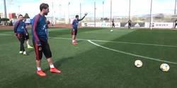 Enlace a Sergio Ramos demuestra su puntería para las faltas en el entrenamiento de la selección