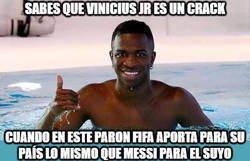 Enlace a Vinicius rindió igual que Messi en la fecha FIFA
