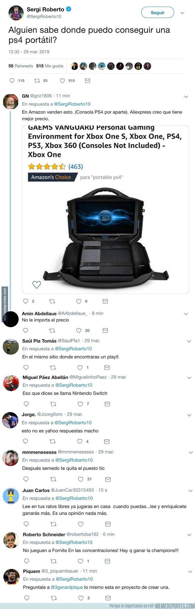 1069967 - Sergi Roberto pide dónde comprar una PS4 portátil, y los comentarios son lo mejor