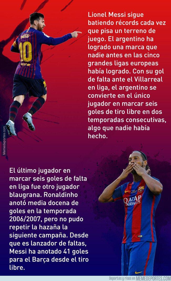 1070193 - El récord que consiguió Messi con su gol de falta ante el Villarreal y que supera a Ronaldinho