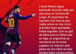 Enlace a El récord que consiguió Messi con su gol de falta ante el Villarreal y que supera a Ronaldinho