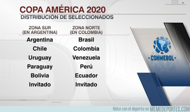 1070839 - La Copa América 2020 se jugará así: Con 2 grupos de todos contra todos, clasificando los 4 primeros.