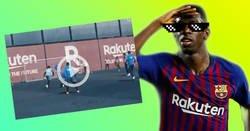 Enlace a Los regates de Dembélé en el entrenamiento son los típicos que intentas en el FIFA