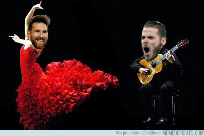 1071937 - De Gea cantó y Messi bailó