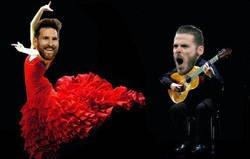 Enlace a De Gea cantó y Messi bailó