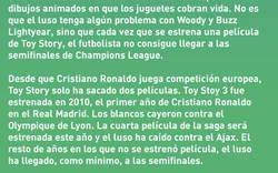 Enlace a La maldición de Toy Story y Cristiano Ronaldo en Champions League