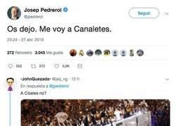 Enlace a Pedrerol dice que se va a Canaletas y todo el mundo se ríe de él