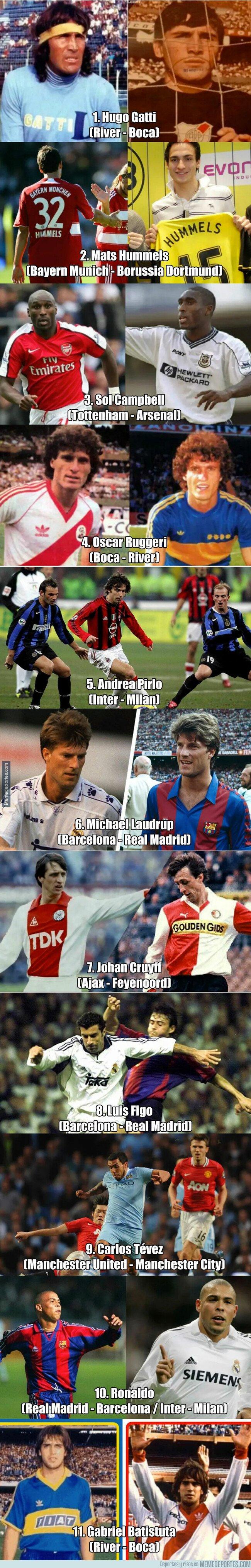 1072942 - El equipo ideal de los futbolistas que jugaron en dos clásicos rivales