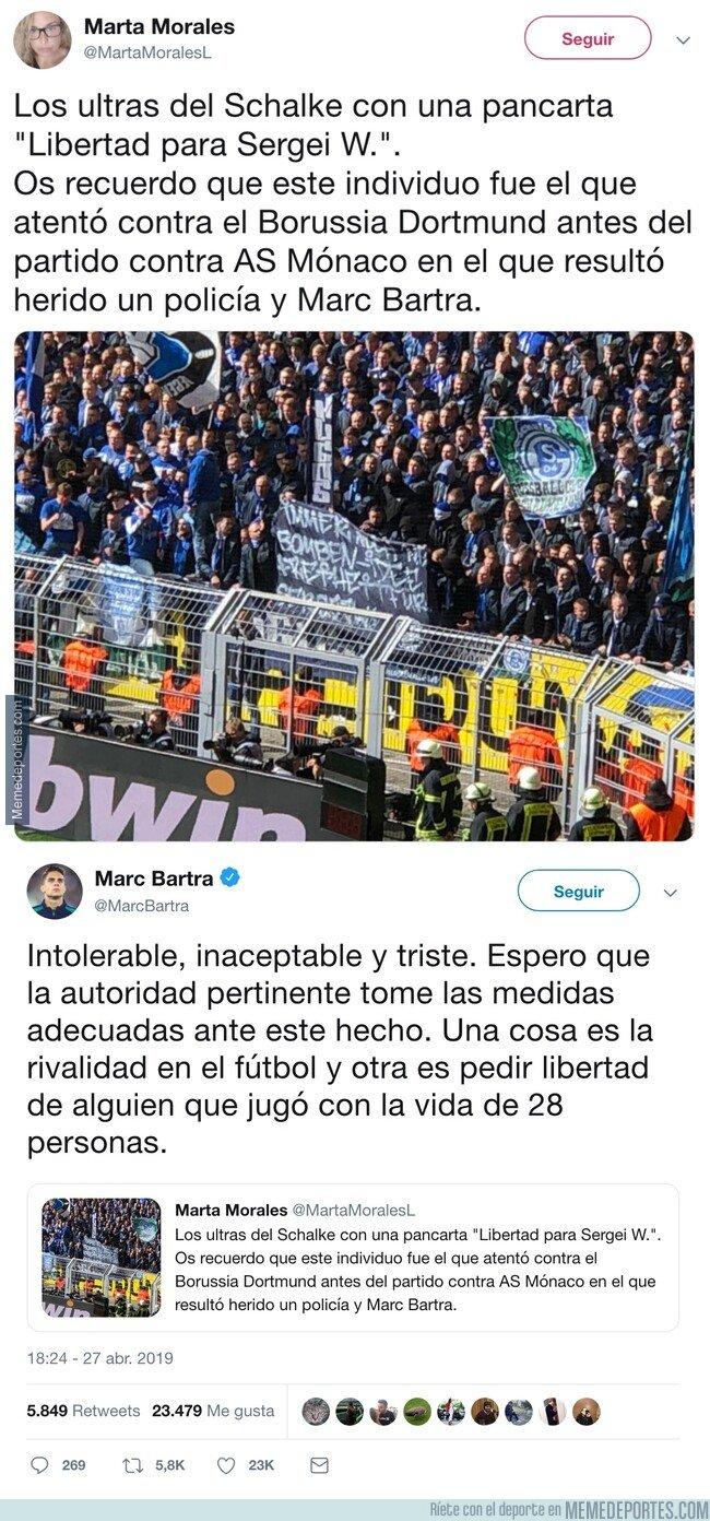 1073046 - Marc Bartra explota por una pancarta en favor del terrorista que casi acaba con su vida