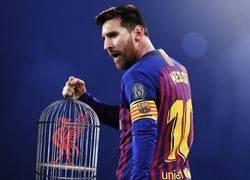 Enlace a Messi enjauló al Liverpool, por @goalglobal
