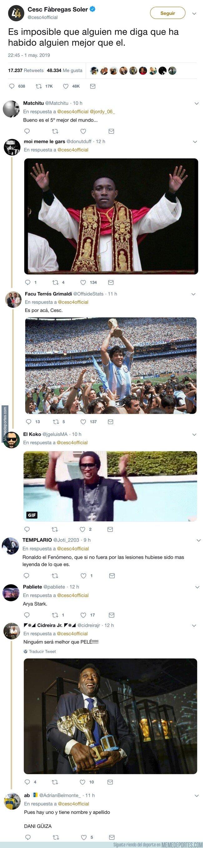 1073311 - Cesc pregunta si hay alguien mejor que Messi, y twitter le propone algunos