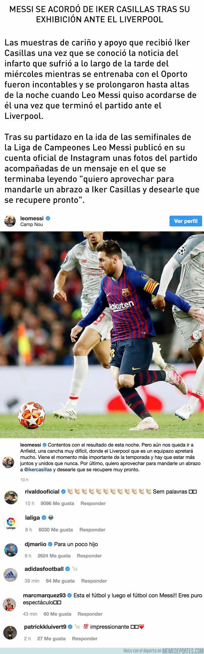 1073314 - Messi se acordó de Iker Casillas tras su exhibición ante el Liverpool y el mundo se rinde ante él