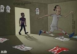 Enlace a Messi acaba con el mejor central del mundo, por @zezocartoons