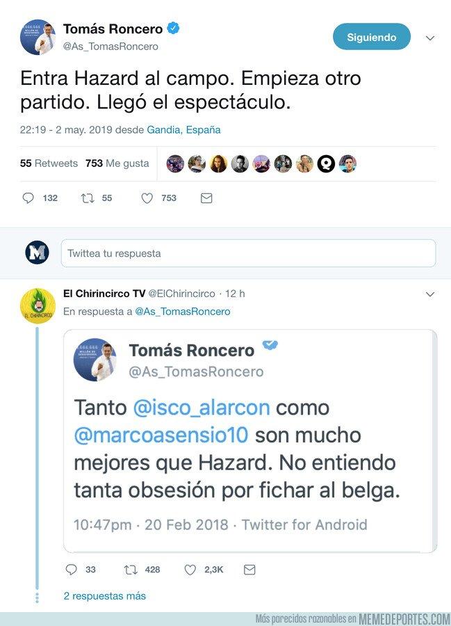 1073416 - Roncero elogia a Hazard y le pegan un buen zasca recordando un tweet viejo suyo