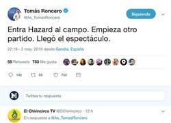 Enlace a Roncero elogia a Hazard y le pegan un buen zasca recordando un tweet viejo suyo