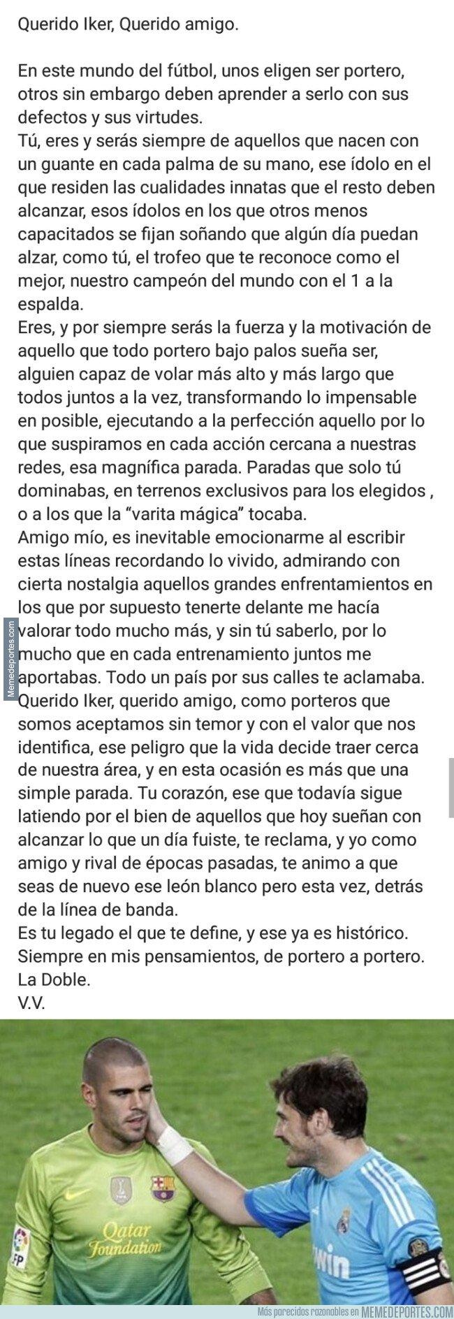 1073572 - La emotiva carta de Víctor Valdés dedicada a su compañero y amigo Iker Casillas