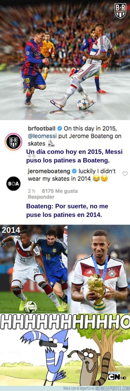 1073675 - Le recuerdan a Boateng cuando Messi le dejó sentado y éste le lanza un dardo al argentino
