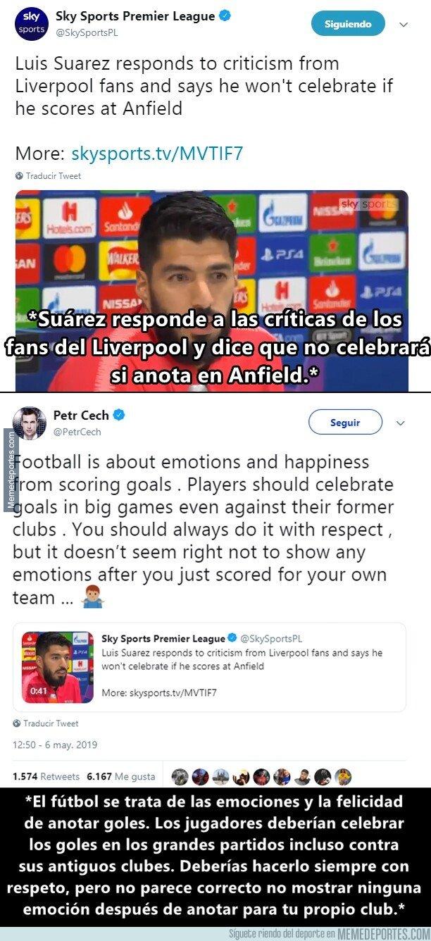 1073729 - Petr Cech le aconseja a Suárez celebrar su gol si anota en Anfield, El Uruguayo dice que no lo hará. ¿Tú qué crees?