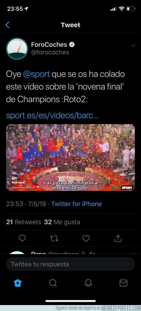 1074142 - El diario SPORT dejó programado un vídeo felicitando al Barça por clasificarse a la final. Se olvidó de borrarlo y se publicó