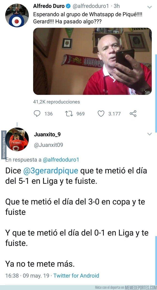 1074441 - Le contestan a Duró con un buen zasca sobre su invitación a Piqué a whatsapp